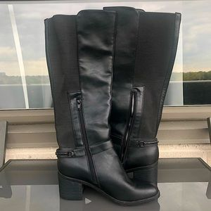 Knee High Stretch Fabric & Faux Leather Black Boots